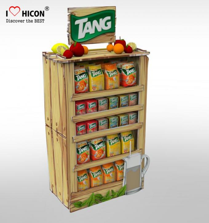 Point of Purchase Wooden Display Racks Free Standing For Nutritional Shake Chocolate